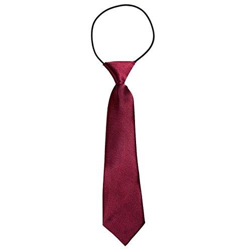 DonDon Jungen Krawatte Kinder Krawatte im Seidenlook glänzend – 7,0 cm breit – mit elastischem Gummiband - Bordeaux Dunkelrot