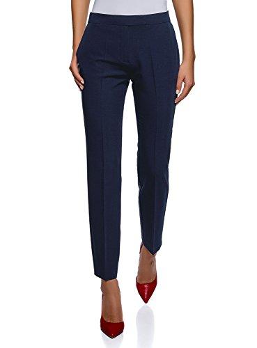 oodji Collection Mujer Pantalones Clásicos Ajustados, Azul, ES 36 / XS