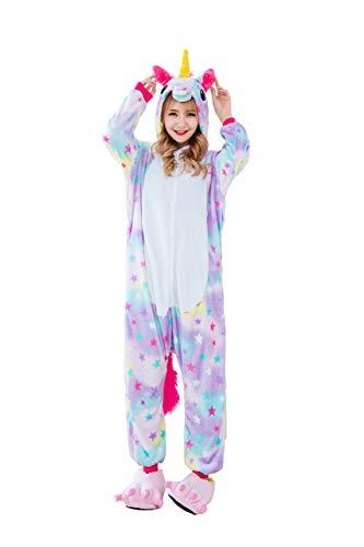 Pyjamas Bekleidung Animal Erwachsene Unisex Schlafanzüge Karneval Onesies Cosplay Jumpsuits Anime Carnival Spielanzug Kostüme Weihnachten Halloween Nachtwäsche Herren Stern Einhorn (Sterne Weihnachts Kostüm)
