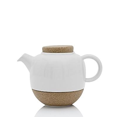 Viva Scandinavia Théière Design en Porcelaine Blanche, avec Couvercle en liège et Bec Anti-Gouttes, 800 ML
