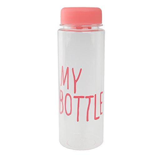 500ml Riutilizzabili Succo Di Bottiglia D'acqua Tazza Di Latte Frutta Plastica - rosa