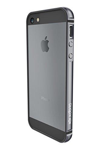 X-Doria Bump Gear Plus Aluminium Clip-On Hülle Case Cover mit Gummi-Einlage für iPhone 5SE - Space Grau (Iphone 5 Aluminium Bumper)