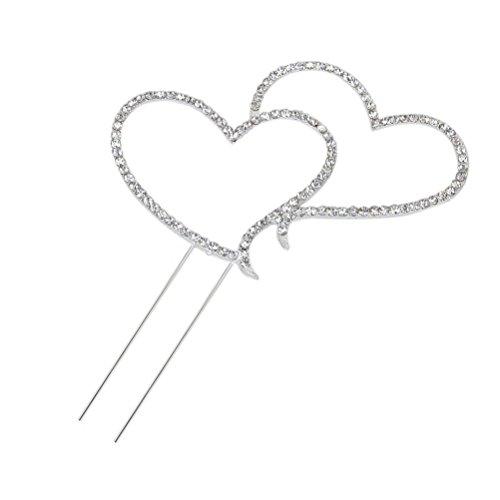 PIXNOR Torta Topper decorazione doppio amore cuore forma delicata scintillante cristallo strass taglia L (argento) - Amore Del Cuore Torta Nuziale