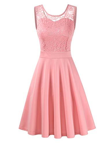 Clearlove Damen Kleider Elegant Spitzenkleid 3/4 Ärmel Cocktailkleid Rundhals Knielang Rockabilly Kleid(Verpackung MEHRWEG), Rosa, L