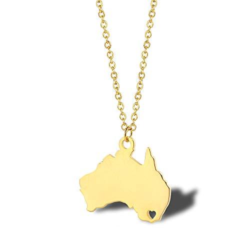 lskette Australien Nationale Karte Einfache Beschichtung K Gold Damen Schlüsselbein Kette Titan Stahl Zubehör Paar Geschenk Schmuck ()