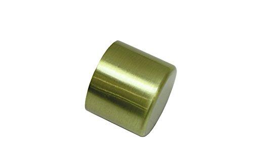 GARDINIA Endkappen für Gardinenstangen, 2 Stück, Serie Chicago, Durchmesser 20 mm, Metall, Messing-matt