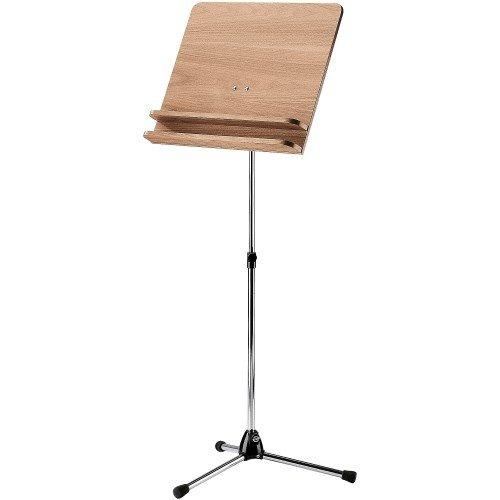 Konig & Meyer 11831-000-01 615mm to 1150mm Adjustable Orchestra Music Stand with Walnut Wooden Desk - Nickel