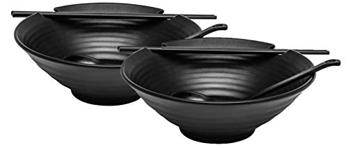 aus schwarzem Melamin, asiatischer japanischer Stil, mit Essstäbchen und Löffellöffel-Set, groß, 37oz für Ramen, Pho, Nudeln, Udon oder andere Suppenmahlzeiten, 2 Stück ()