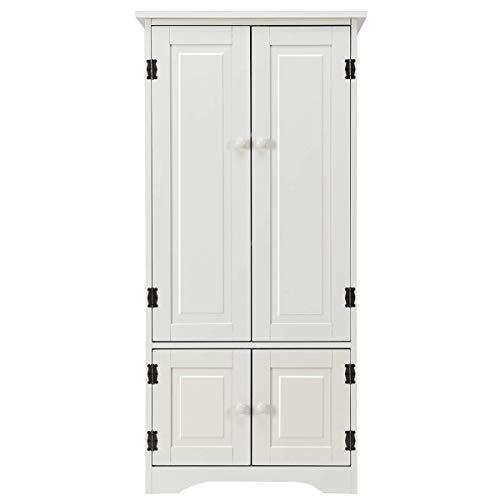 Costway mobile multiuso, armadio da soggiorno, credenza da cucina in legno, con 4 ripiani, bianco latte, 58,5 x 31,4 x 123cm