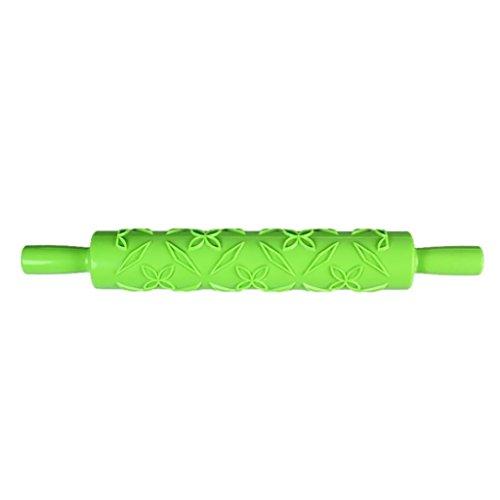 Magideal mattarello goffrato decor torta pasta zucchero craft rotante del fondente utensili cucina pasticceria 36x5x5cm - verde
