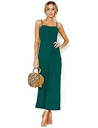 96c91863 Lover-Beauty Mono Mujer Elegante Largo Verano Mono de Honda Floral Bohemia  Casual Pantalones Floral Ropa Vestir Cintura Alta Vendaje…
