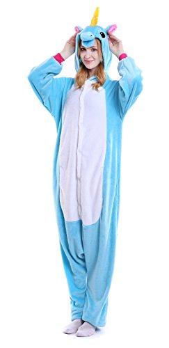 Lovelybride Erwachsene Einhorn Pyjama Tierkost¨¹m Cosplay Onesie Kigurumi Halloween Geschenk Blue Pegasus M