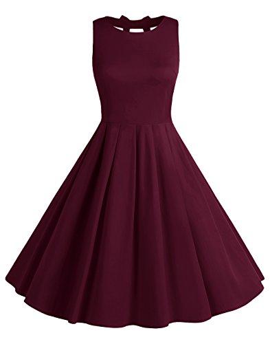 BeryLove Frauen Vintag 50s Polka Dot Bowknot Rockabilly kleid Swing Kleid BLV8001 Burgundy 2XL