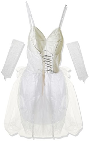 Pop Kostüm Braut - Cesar-C204-Kostüm Sexy Brautschmuck Pop bestehend aus Einer Kleid, einem gepunkteten Schleier und weißen und Armstulpen-42/44-