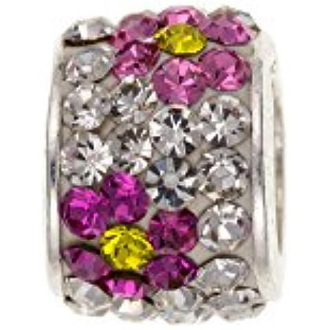 Broche de plata de ley rosa/amarillo colgante de cuentas de cristal