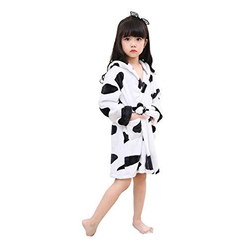 r Bademantel mit Kapuze Morgenmantel Nachtwäsche Schlafanzug Robe für Mädchen und Jungen Cosplay Kostüme Tier Ankleiden (Kuh, 110 (Suggest Höhe: 100 CM-110 cm)) ()