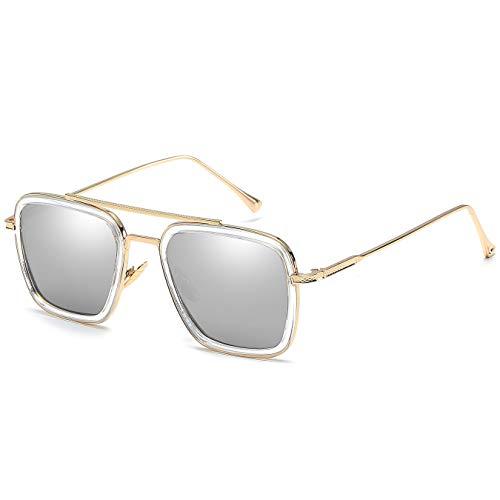 SHEEN KELLY Luxus Retro Sonnenbrille Tony Stark Brillen Quadratische Metallrahmen für Männer Frauen Klassiker Sonnenbrille Piloten Gold Spiegel Linsen