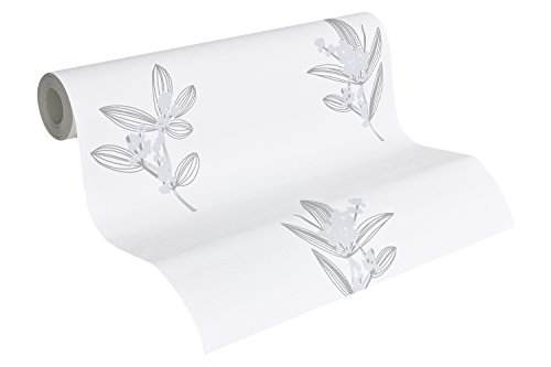 A.S. Création Vliestapete Paloma Tapete floral 10,05 m x 0,53 m creme grau Made in Germany 301384 30138-4 - Paloma Creme