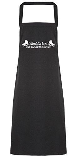hippowarehouse World 's Best Eislaufen Coach Schürze Küche Kochen Malerei DIY Einheitsgröße Erwachsene, schwarz, (Diy Kostüm Queen Snow)
