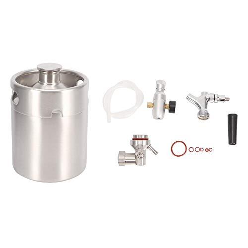 Pasamer 2L Edelstahl Bierfass Homebrew Keg System Kit mit Carbonator Wasserhahn Mini CO2-Regler