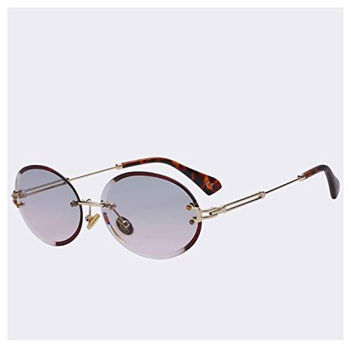 FGRYGF-eyewear2 Sport-Sonnenbrillen, Vintage Sonnenbrillen, NEW Retro Oval Sunglasses Women Frameless Gray Brown Clear Lens Rimless Sun Glasses For Women Uv400