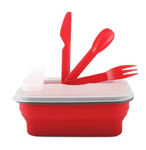 Kukk porta merenda bambini per la scuola, lunch box alimenti in silicone, set portamerenda bambini estensibile con posate, contenitore/scatola pranzo (rosso)