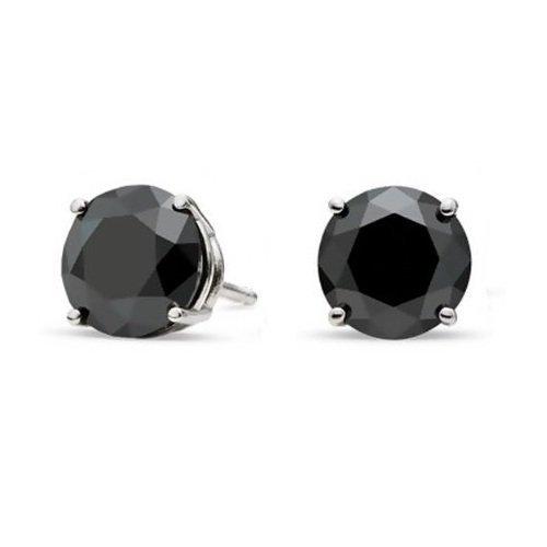 iJewelry2, orecchinida uomo (o unisex) a perno, in argento, con diamante incastonato di zirconia cubica, a taglio rotondo e di colore nero (0,25 ct, 4 mm).