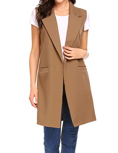 Finejo Damen Lang Revers Duster Trench Weste Cardigan Ärmellos Casual Blazer Top Jacket Mantel Outwear mit Taschen