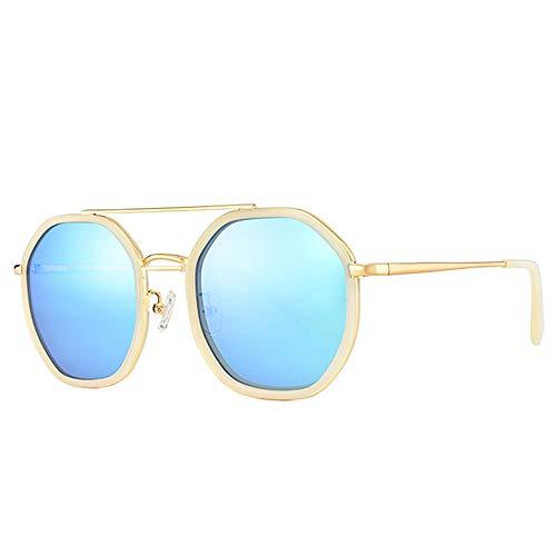 DelongKe Mode Polygonalen Sonnenbrillen, Trend Metal Large Frame 100% UV-Schutz Geeignet Für Männer Und Frauen Angeln, Radfahren, Klettern,Goldframe