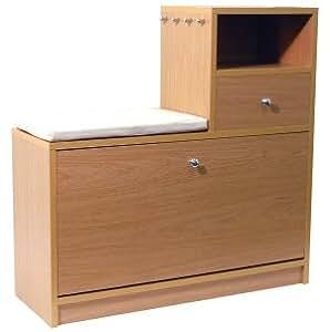 Meuble chaussures avec banc et table pour entr e effet - Banc entree meuble chaussure ...