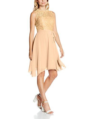 Intimuse Damen ärmelloses Cocktail Kleid mit Spitzendetails, Elfenbein (Pfirsichfarben 052), 36