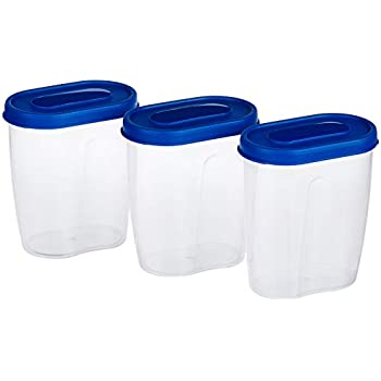 Amazon Brand - Solimo Set of 3 Grocery Jar (450ml), Blue