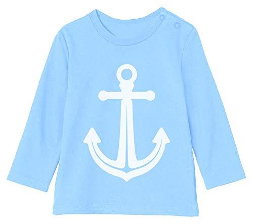 Cadeau de Naissance bébé - Ancre Petit Marin T-Shirt Bébé Unisex Manches Longues 6-12M 66/76cm Bleu Ciel