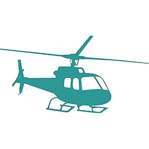 GRAZDesign Wandtattoo Hubschrauber Wandsticker für Jugendzimmer, Wohnzimmer Wandaufkleber für Kinder, Jungs (77x40cm//054 türkis)