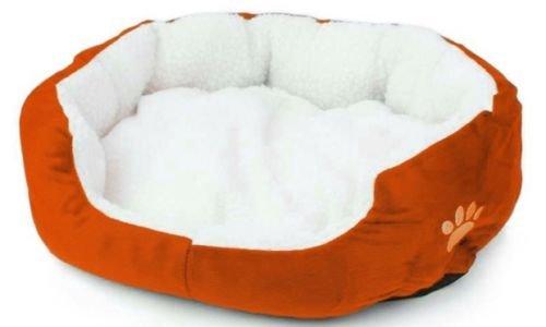 Bricok cuccia per cane e gatto da interno morbida in pile - comoda e lavabile - dimensioni (50 x 40 x 15) (arancione)