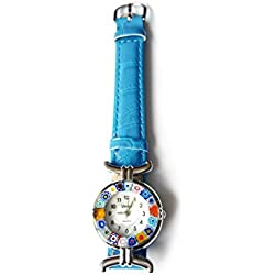 Venice One 1 Lady Watch with authentic Murano Glass certificate Millefiori lampwork with blue dark azure genuine leather strap. Handmade unique and original watch