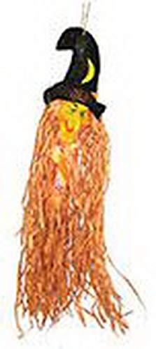 Luxuspiraten - Halloween Dekoration, Hänge-Deko Hexe mit Hut, 70cm, Witch, ideal für Jede Halloween Party / Feier, Orange