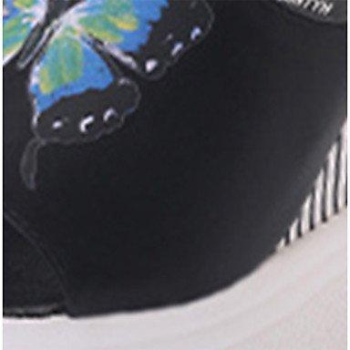 Les femme's confort sandales d'été à Cachemire occasionnels joint de séparation Talon bas noir kaki 2in-2 3/4 US6.5-7 / EU37 / UK4.5-5 / CN37