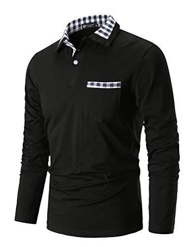 Sttlzmc moda polo uomo manica lunga con plaid cotone maglietta gentiluomo t-shirt tops tennis,nero,xx-large