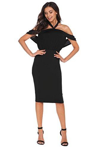 Wergem Frauen Halter Sleeveless Rüschen Backless Bodycon Party Pencil Dress