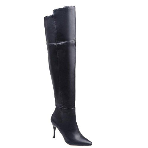 Mee Shoes Damen Stiletto langschaft spitz Reißverschluss Stiefel Schwarz