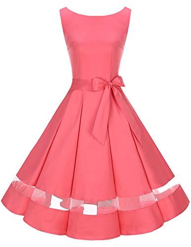 bridesmay 50s Retro Vintage Rockabilly Kleid Knielang Partykleider Cocktailkleid Abendkleider Blush...