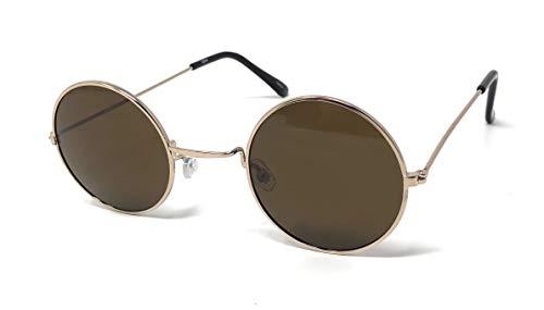 UltraByEasyPeasyStore Gold Mit Braunen Linsen Kleine Stil Erwachsene Retro Runde Sonnenbrille John Lennon Vintage Look Qualität UV400 Elton Brille Herren Damen Klassische Unisex Brillen