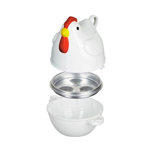 """genialo Mikro-Eierkocher\""""Huhn\"""", 1-3 (Frühstücks-) Eier in Mikrowelle, Dampfgarer, Küchenzubehör, Eierkocher, Küche, Hühnerdesign, 15 x 12 x 17 cm"""