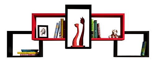 Homidea bold mensola da muro - mensola parete - mensola libreria - scaffale pensile per studio/soggiorno in design moderno (nero/rosso)