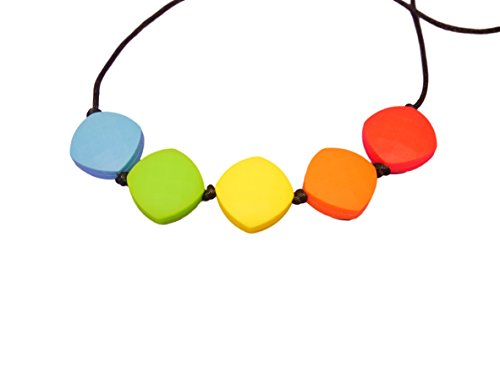 Rainbow Silicone Teething Necklace Breastfeeding Baby Nursing Quadrate Beads BPA Free, Hand-Made by MilkMama 31BbAT92mhL