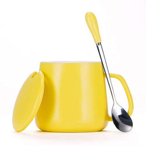 Kreative Frühstückstasse Haferflocken Kaffeetasse 8cm x 8,5cm Becher Keramik mit Deckel Löffel Paar Student Tasse Milch Tasse mit großem Fassungsvermögen N 360ml