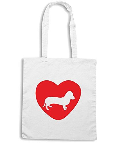 T-Shirtshock - Borsa Shopping CIT0054 Dachshund love Bianco