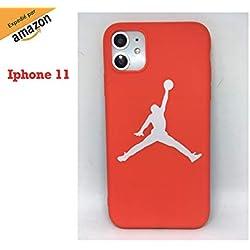 Funda Carcasa de Silicona iPhone 11 J Basketball Rojo Baloncesto Protección Total