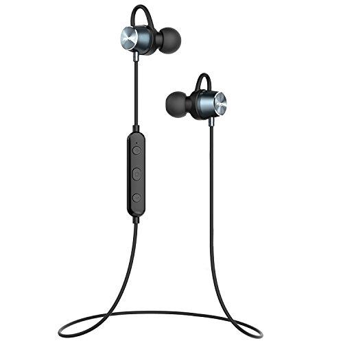 Mpow Bluetooth Kopfhörer Sport IPX7 Wasserschutz In Ear Kopfhörer Bluetooth 4.1 Kabellos Stereo Sportkopfhörer Joggen Ohrhörer Wireless Magnetische Headset mit Mikrofon, 7 Stunden Spielzeit, Lebensdauergarantie für iPhone 7 7 plus 6 6S SE Samsung MP3 usw. -Schwarz